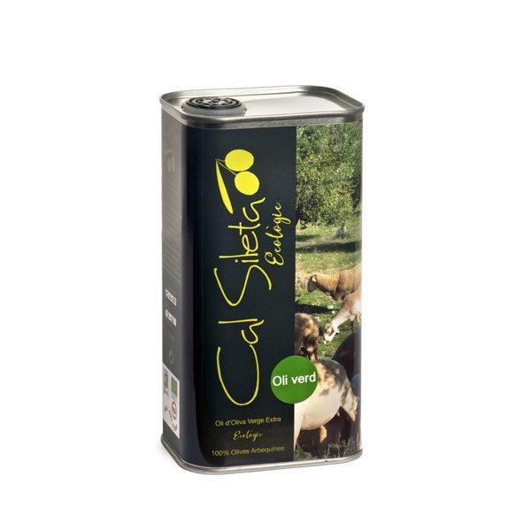 Oli verd d'oliva ecològic en llauna d'un litre